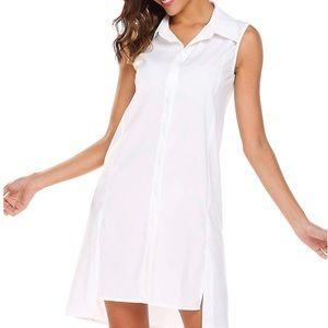 Finejo Dresses - SHESHOW Finejo sleeveless white shirt dress